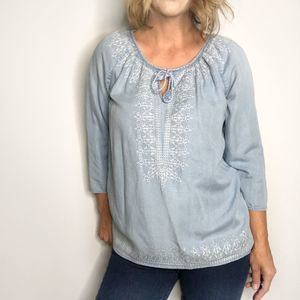 J JILL Embroidered Chambray Blouse